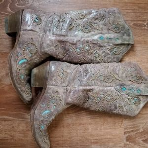 Women's Stud and Inlay Western Boots in Turqu
